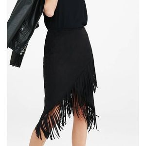 Express Faux Suede Fringe Cowgirl Skirt
